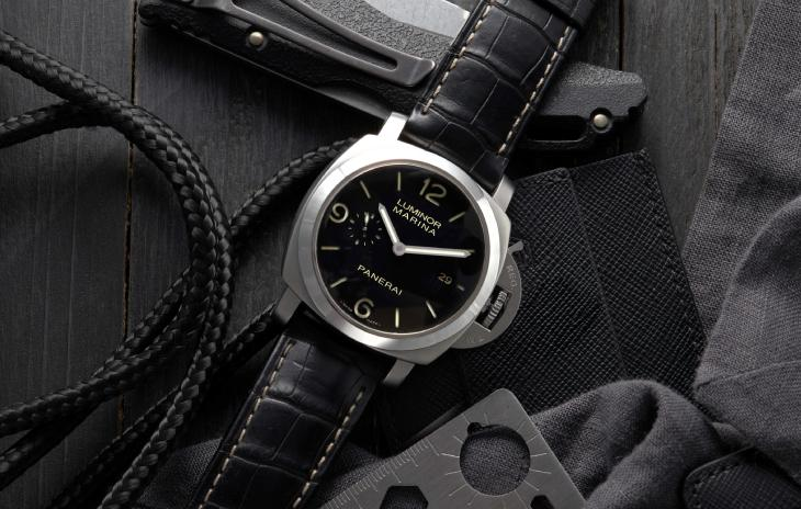 Panerai Luminor Marina with 44mm case, black dial and leather strap