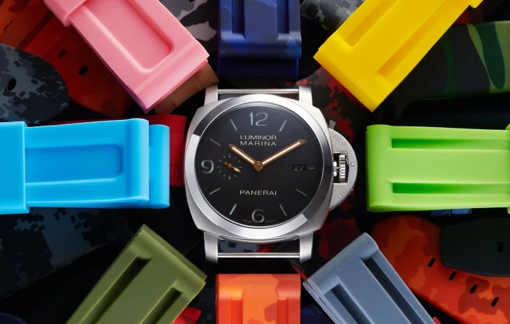 Panerai Luminor with assorted colors of Horus Straps