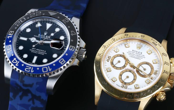 Rolex GMT-Master II with blue camo Horus strap and Cosmograph Daytona with black Horus Strap