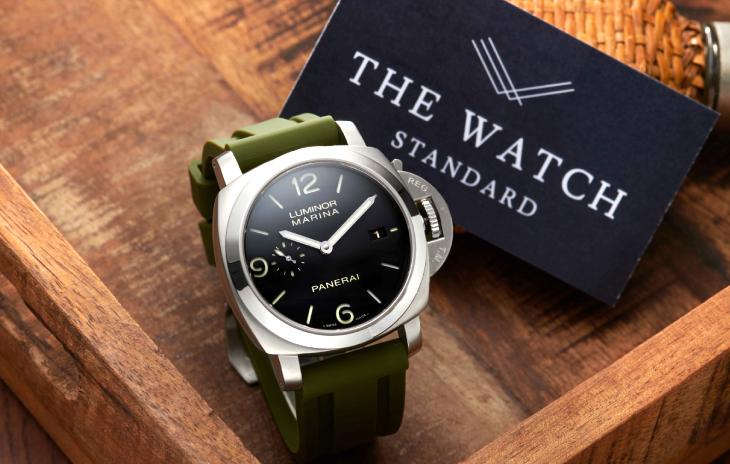 Panerai Luminor with olive green Horus Strap and The Watch Standard logo